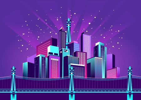 vector illustration neon colored city at night in electric lights on shore bridge over canal