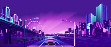 Night neon city, bridge going to skyscrapers, road inland with car, vector horizontal illustration