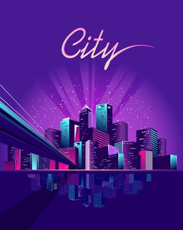 vector illustration neon colored multicolored night city in electric lights bridge across canal to megalopolis road inland