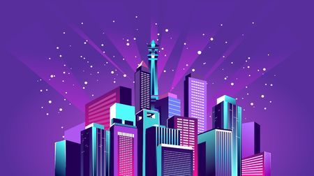 vector illustration neon colored city at night in electric lights on shore canal