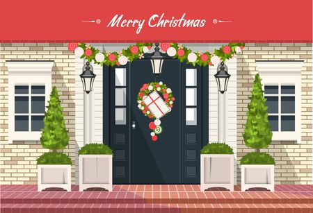 vector illustration. Christmas decorations on the front door of a residential building, a wreath of plants and garlands,