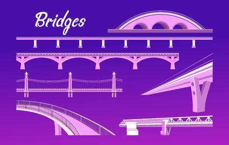 illustration vectorielle, ensemble de différents ponts sur un fond sombre dans un style plat Vecteurs