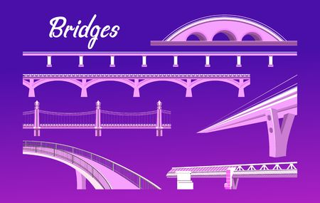 vector illustration, set of different bridges on a dark background in a flat style Ilustração