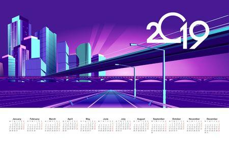 Neon night city in the light of spotlights and glowing rays, vector English calendar template 2019 Ilustração