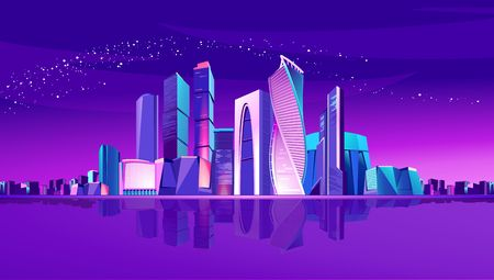 Futuristic neon city, the business center of Moscow on the river bank with the reflection of skyscrapers Illustration
