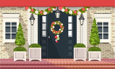 Christmas decoration of entrance doors Vector Illustratie