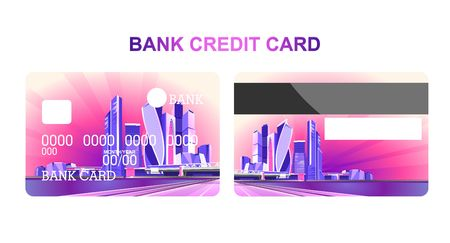 Credit bank cards for withdrawing and depositing money with a neon city at night. The front and back of the template,