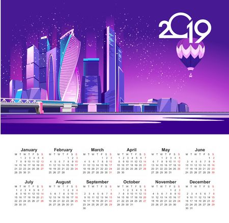 neon night Moscow city in the light of searchlights and glowing rays, vector English calendar template 2019