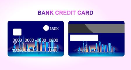 Bank credit card for a company or individual, featuring the Chinese city of Shanghai lit by neon lights. Two sides of the card front and back Illustration