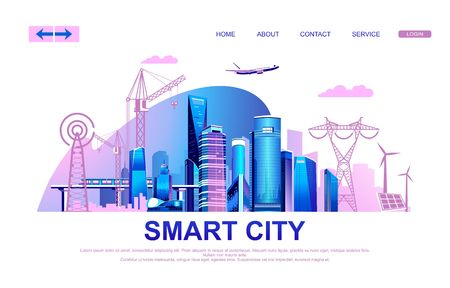 Vector illustration of a conceptual horizontal advertising banner with modern houses of a big city, infrastructure, transport and all communications, landing page, Çizim