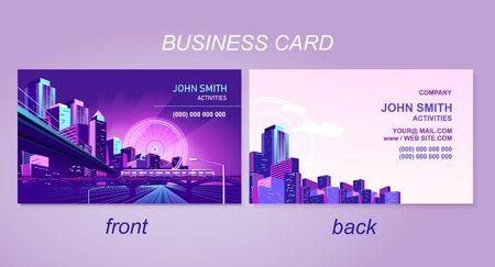 tarjeta de presentación para la empresa o particular, con la imagen de una ciudad nocturna, perspectiva vial, plantilla de anverso y reverso. Ilustración de vector
