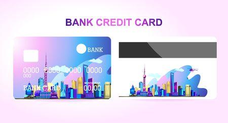 Bankcreditcard voor een bedrijf of individu, met daarop de Chinese stad Shanghai verlicht door neonlichten. Twee kanten van de kaart voor- en achterkant Vector Illustratie