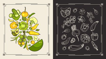 Vector illustration of a menu of two pages for a restaurant cafe collection of ripe vegetables second page of black and white vegetables line