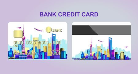 Bank credit card for a company or individual, featuring the Chinese city of Shanghai lit by neon lights. Two sides of the card front and back white background Stock Illustratie