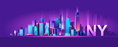 Vector illustration of a panorama of a large night city illuminated by neon lights. Modern buildings and skyscrapers on the waterfront, urban landscape Stock Illustratie