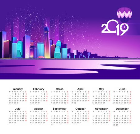 2019 calendar in English, abstract neon city on the embankment is lit with bright lights, urban landscape