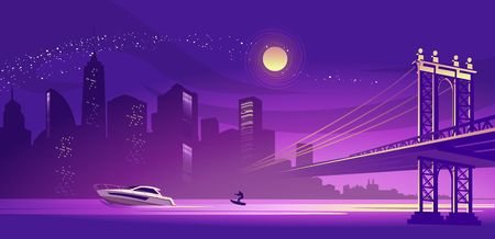 vector horizontal illustration of a silhouette of a night misty city, lit by lights and moonlight, a bridge connecting two districts across a canal, a boat with a man on a water ski floats along a river