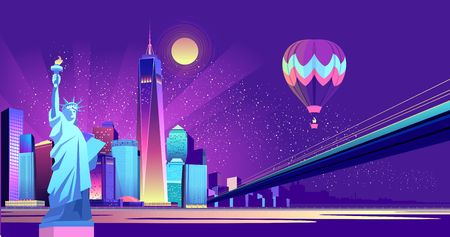 Vector horizontal illustration of the Statue of Liberty on the background of a night American city, illuminated by neon lights, a bridge is held across the canal on the sky flying a balloon
