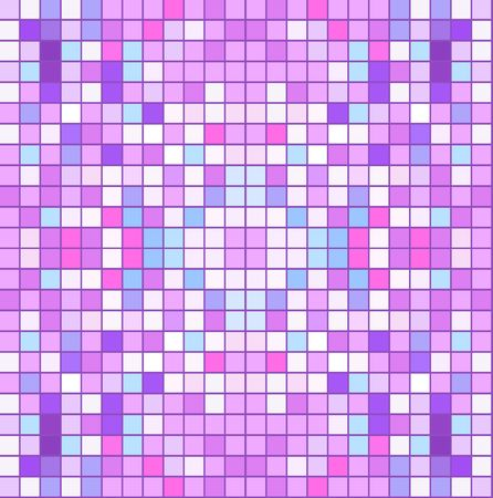 Abstract vector seamless pattern, from squares randomly colored in pink and blue, mosaic