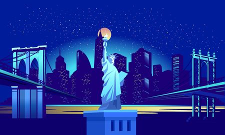 Vector horizontal illustration of the Statue of Liberty on the background of the night American city, illuminated by neon lights, across the canal to the area held a bridge Stock Illustratie