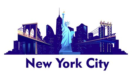 vector cartoon emblem of american city new york, statue of liberty on a background of skyscrapers isolated on white background, blue color