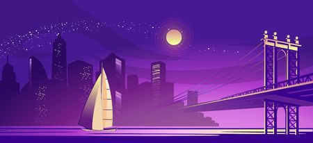 vector horizontal illustration of a silhouette of a night foggy city, lit by lights and moonlight, a bridge connecting two districts through a channel Stock Illustratie