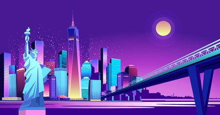 Vector horizontal illustration of the Statue of Liberty on the background of the night American city, illuminated by neon lights, across the canal to the area held a bridge Иллюстрация