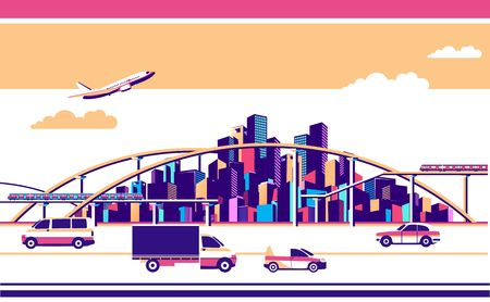 vector horizontal illustration industrial cityscape with bridges roads and moving vehicles banner on white background isolated Illusztráció