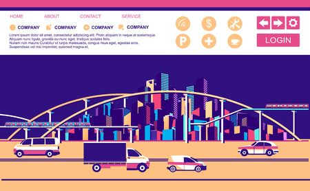 vector horizontal conceptual illustration of a cityscape banner with freeways and roads moving vehicles template for a landing page