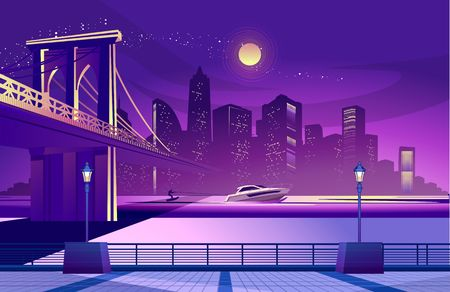 vector horizontal illustration of night city, embankment view of the silhouette of the city in illuminated with lights in ultraviolet color