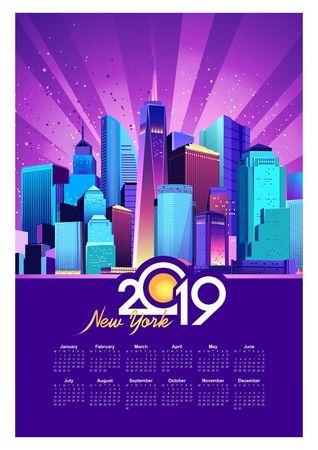 Vector illustration, vertical calendar 2019, night city illuminated by neon lights America New York
