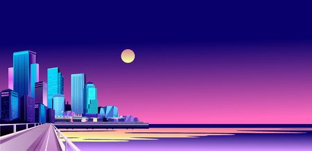 vector horizontal illustration of night city landscape on the seashore lit by lights and setting sun, airships fly in the sky above the water