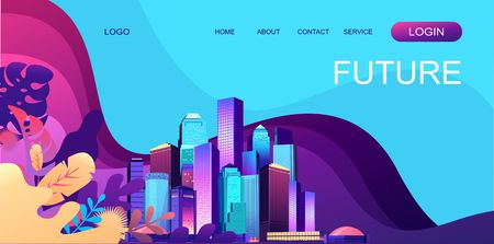 Vector horizontal illustration. Abstract landing page banner on the Internet for your use. Fantastic city.