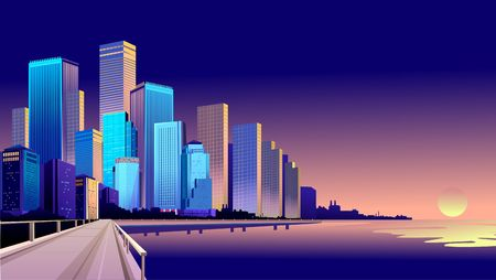 Vector illustration of a panorama of a large night city illuminated by neon lights. Modern buildings and skyscrapers on the waterfront, urban landscape  イラスト・ベクター素材