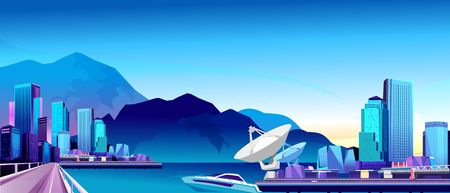 Vector horizontal illustration, coastal city, resort. High-rise buildings hotel for tourists and recreation in beautiful places, Vectores