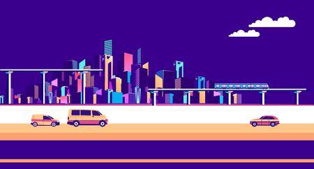 wektorowa pozioma ilustracja przemysłowy krajobraz miasta z mostami drogowymi i ruchomym sztandarem pojazdów na niebieskim tle Ilustracje wektorowe