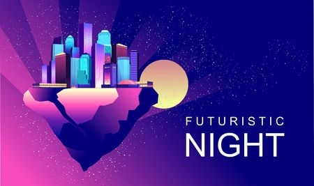 vector horizontal illustration abstract banner with futuristic night flying city on a clump of earth or rock in outer space Ilustração