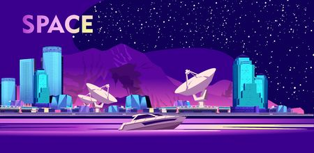 Vector horizontal illustration. Intergalactic base cosmodromescientific research station on the background of mountains and starry sky, night cityscapes in purple and ultraviolet colors