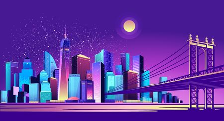 vector horizontal illustration of night cityscape through the canal passes a huge bridge connecting two districts of the city, exposed to moonlight