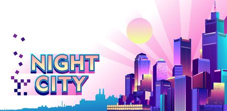 Modern futuristic city at night, illuminated by neon lights and light rays. Cityscape. Banner, Concept on white background, Day Illustration