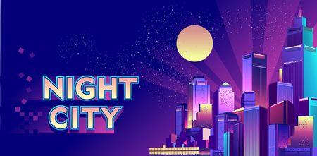 Modern futuristic city at night, illuminated by neon lights and light rays. Cityscape. Banner Vector Illustratie