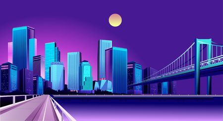 vector horizontal illustration of night futuristic city landscape on the bank of a reservoir with bridges roads