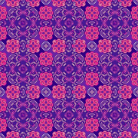 vector seamless pattern, arabic flowered elements pink and purple Illustration