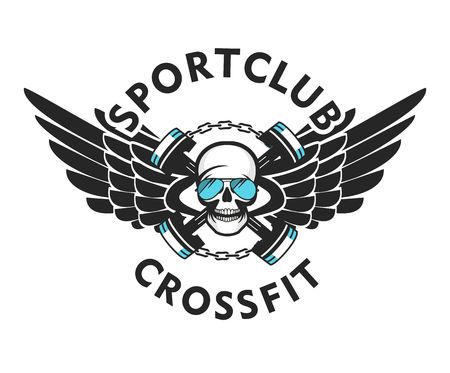 vector illustration of the brutal emblem of a sports team for a crossfit human skull with sport shells. White background