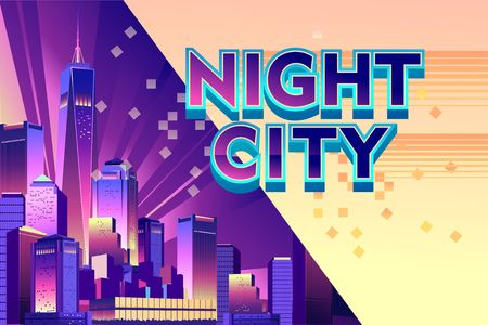 Vector illustration, Horizontal conceptual banner for a web site, Futuristic city on the bay, modern buildings with neon lights skyscrapers, Night