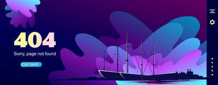 404 Page Not Found Error, illustration Beacon is surrounded by storm waves in retro graphic style, purple colors, Social network problems, documents, posters, web page, vector creative design  イラスト・ベクター素材