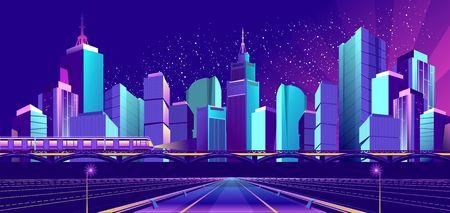 Night landscape, futuristic city, train traffic on the railway bridge, neon lights Ilustrace