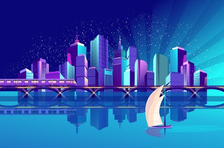 The futuristic night city is illuminated by neon lights and luminous rays, on the coast of the gulf there is a railway bridge and train. Vector illustration Ilustrace