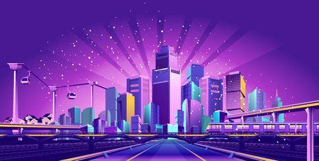 Futurystyczne miasto nocnego kurortu oświetlone jest neonami i promieniami świetlnymi, ruchem ulicznym, drogami, mostami, estokadami i podwieszoną kolejką linową, Ilustracje wektorowe