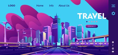 conceptual banner for internet travel, horizontal illustration cityscape, infrastructure of a smart city and its sights, template homepage